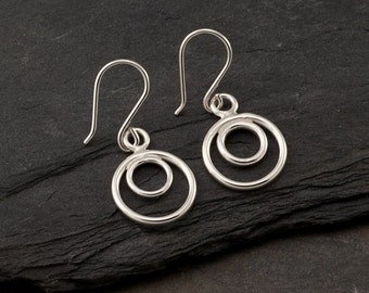 "Simple Silver Earrings- Sterling Silver Hoop Earrings- Small Silver Hoops- Dangle Earrings- Silver Circle Earrings ""Circle Duo Hoop"""