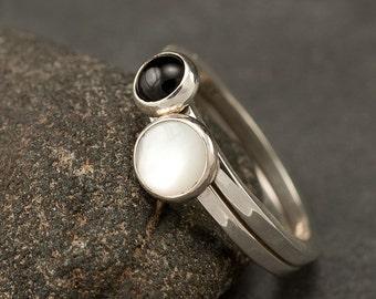 Stacking Rings- Stacking Ring Set - Sterling Silver Rings- Stone Stacking Rings, Pearl ring, Black Onyx ring
