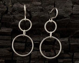 """Silver Hoop Earrings - Silver dangle earrings- Sterling silver earrings- handmade jewelry """"Double Hoop"""""""