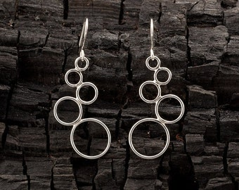 """Silver Dangle Earrings- Sterling Silver Earrings- Circle Chandelier Earrings- Handmade Modern Silver Jewelry- """"Cascading Circles"""""""