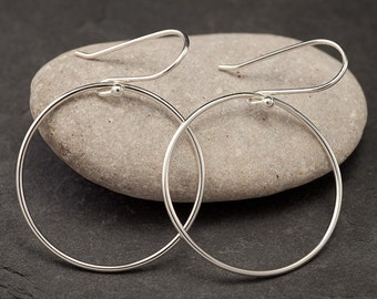 Large Silver Hoops- Silver Hoop Earrings- Large Hoop Earrings- Simple Sterling Hoop Earrings- Simple Silver Hoops