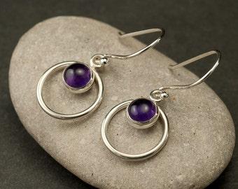 Amethyst Earrings- Purple Stone Earrings- Silver Hoop Earrings- Amethyst Dangle Earrings-  February Birthstone- Silver Jewelry