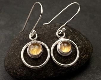 Citrine Earrings- Silver Drop Earrings- Citrine Dangle Earrings- November birthstone earrings- Silver Earrings with yellow gemstones
