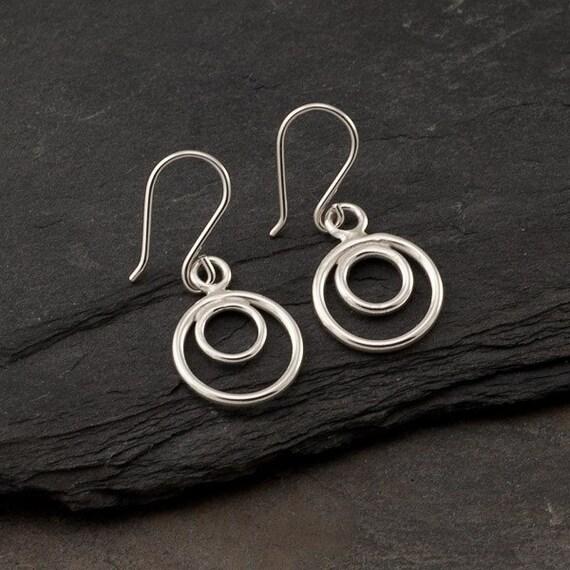"""Simple Silver Earrings- Sterling Silver Hoop Earrings- Small Silver Hoops- Dangle Earrings- Silver Circle Earrings """"Circle Duo Hoop"""""""