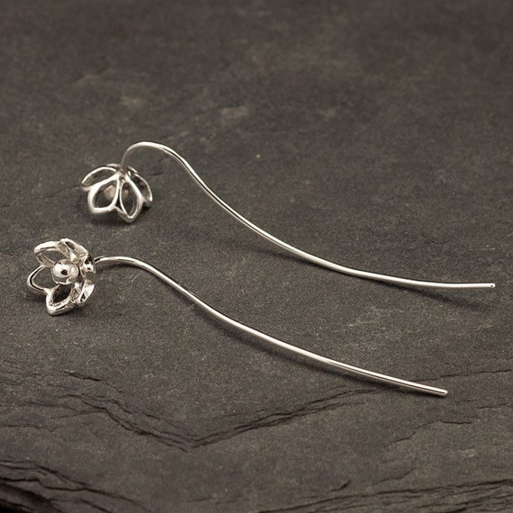 Silver Flower Earrings- Sterling Silver Dangle Earrings- Long Sterling Silver Earrings- Threader Earrings