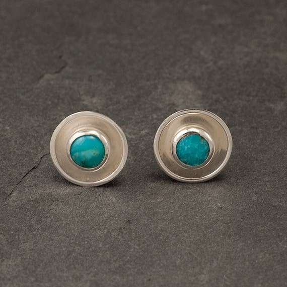 Turquoise Earrings Stud- Turquoise Stud Earrings- Sterling Silver Studs- Modern Silver Post Earrings with Turquoise