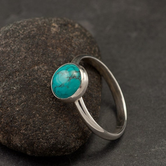 Turquoise Ring- Large Turquoise Ring- Silver Turquoise Ring- Sterling Silver Ring- December Birthstone- silver jewelry