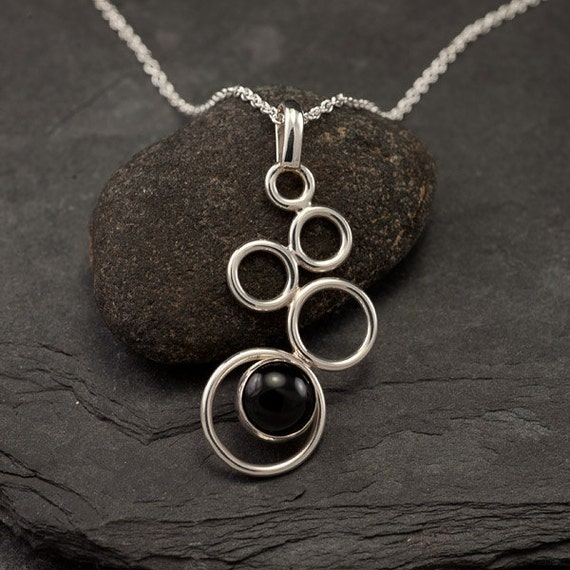 Handmade Sterling Silver Necklace- Black Onyx Necklace- Silver Necklace with Black Stone- Pendant Black Onyx- Silver Jewelry