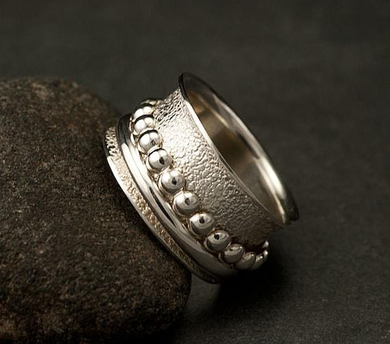 Silver Spinner Rings- Spinner Silver Ring- Sterling Silver Spinner Ring- Wide Band Ring- Kinetic Ring- size 8