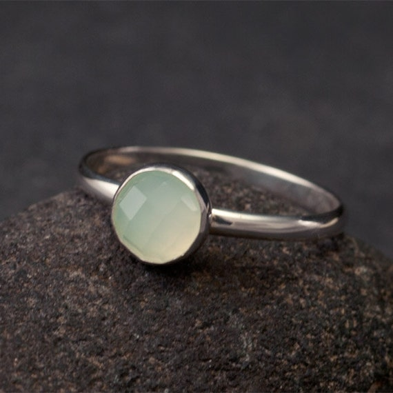 Aqua Chalcedony Ring- Aqua Stone Ring- Teal Green Stone Ring- Sterling Silver Ring- Modern handmade sterling silver jewelry- size 7