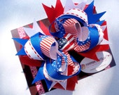4th of July Spectacular - PheePhee Signature Layered Loopie Double Stacked Bow - Perfect for Infants, Toddlers, Big Girls and Teens