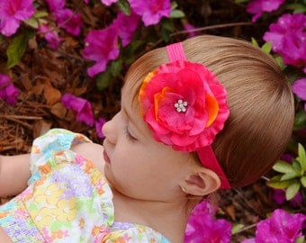 Shocking Pink Flower Headband, Jasmine, Baby Headbands, Infant Headbands, Newborn Headband, Photo Prop, Flower Girl, School bow, Holidays,