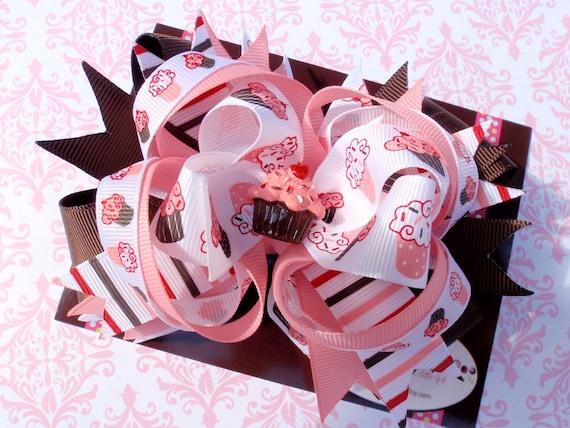 Pink Cupcake Hair Bow, OTT, 1st Birthday Hair Bow, Infant Headband, Baby Headband, Baby Bows, Newborn Headband, Baby Shower Gift, Pink
