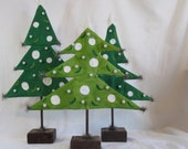 """Kris Tree, a 20"""" folk Christmas tree green painted fabric with pearls and sparkle on wood base"""