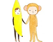 Banana meets Monkey - 5 x 7 Print