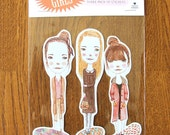 Puddle Girls - set of three stickers
