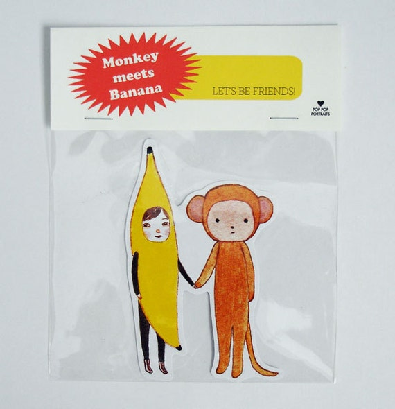 Monkey meets Banana Sticker
