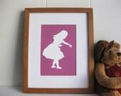 Alice in Wonderland - Nursery Art Print (Classic Alice with key) 5x7 in Maroon