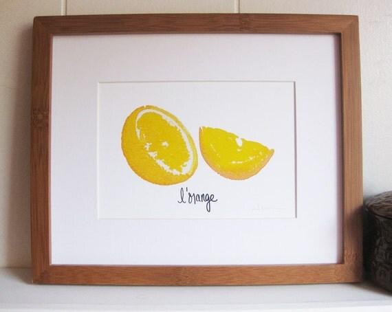 L'orange belle (The beautiful orange) Kitchen Art Print (5x7 image)