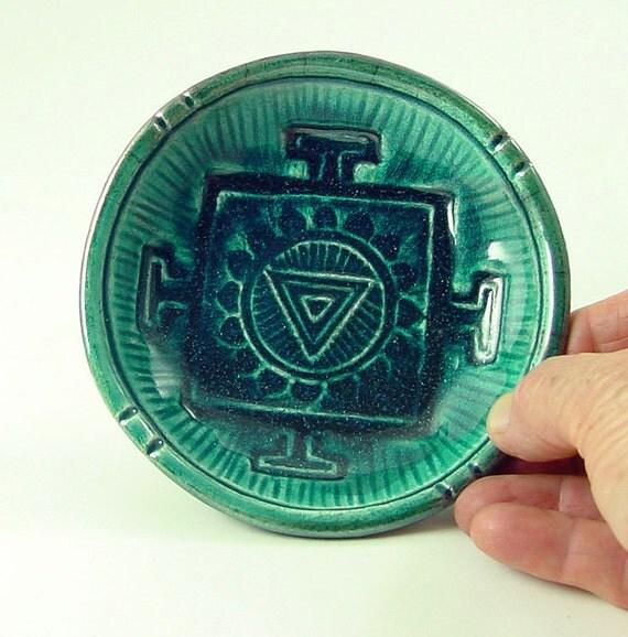 Reserved for CreamACat/Emelie RAKU OFFERING BOWL YantraThe Divine Feminine Handmade Pottery