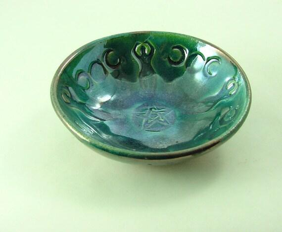 GODDESS PENTAGRAM TRIPLEMOON Handmade Raku Offering Bowl