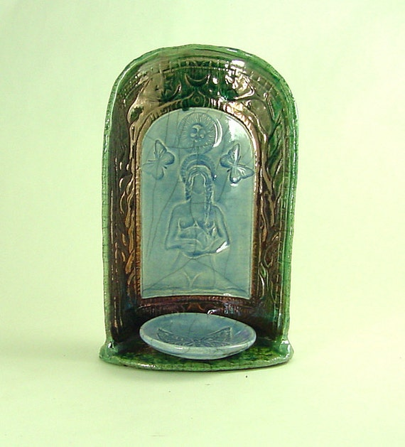 Gaia Candle Holder Shrine  Pottery