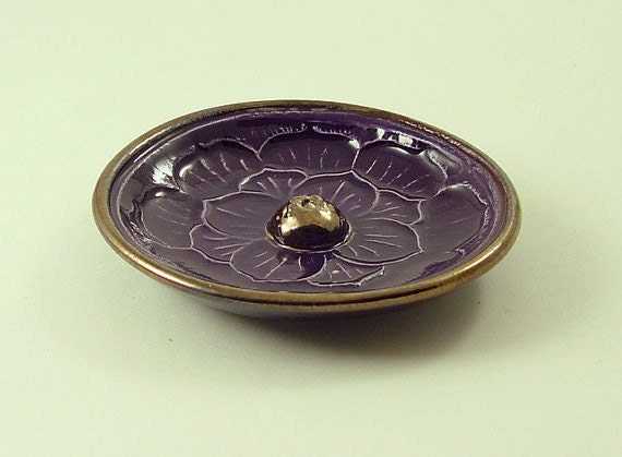 Lotus Incense Burner Handmade Raku Pottery