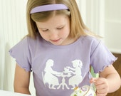 Vintage Tea Party Nostalgic Graphic Tee in Short Ruffle Sleeves - Lavender OR Pink with White