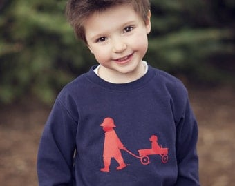 Boy with a Wagon Nostalgic Graphic Tee Shirt in Long Sleeves - Navy with Red