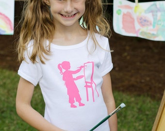 Aspiring Artist Nostalgic Graphic Tee in Organic Capped Sleeves - White with Lilly Pink