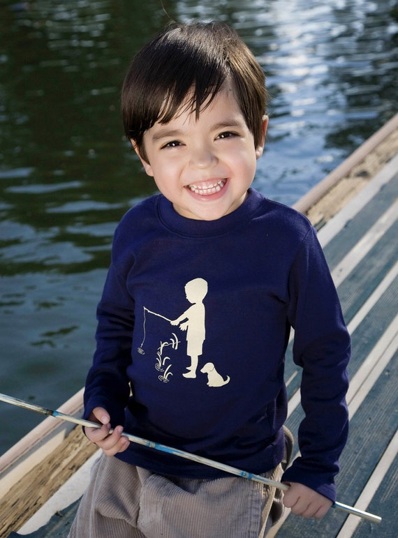 Boys Nostalgic Graphic Tee Shirt in Long Sleeves - Fisherman in Navy with Khaki