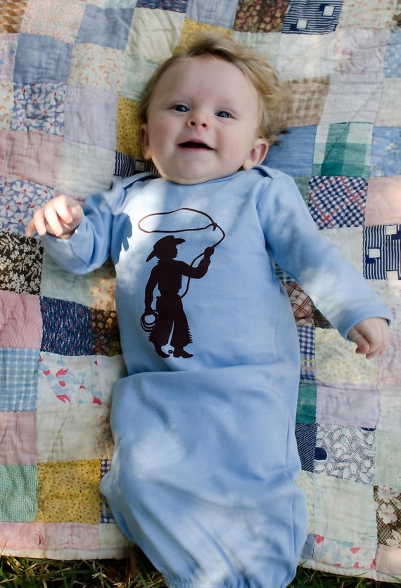 Infant Long Sleeved Nostalgic Graphic Tee Layette Sleeper Gown / Sleep Sack - Cowboy FREE SHIPPING