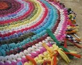 """Joyful Round Crocheted Fabric Rag Rug ... 38"""" Upcycled Multicolored"""