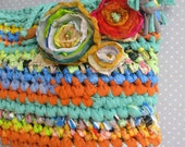 Large playful fabric crocheted purse / mini tote ... eco friendly