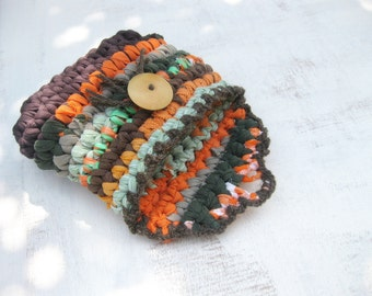 Fabric & Plarn Crocheted Purse/ Cosmetic case / Earthy Colors / By Odpa'am