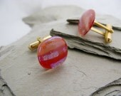 Bacon Glass Mens Cufflinks, Fused Glass Mens Jewelry, Red Cufflinks