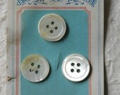 c1910 3 French Mother of Pearl Buttons on Original Robins Egg Blue Card