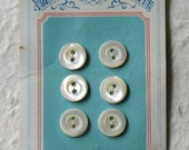 c1910 6 French Mother of Pearl Buttons on Original Card