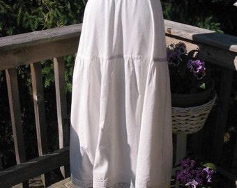C1900 Antique Victorian White Petticoat Flounced Lace Tucks /1