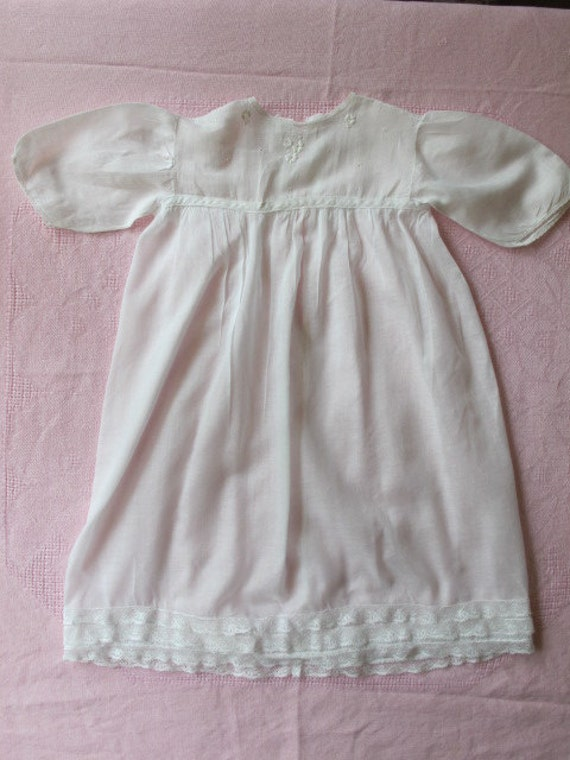 Darling c.1920s Embroidered Lacy Long White Cotton Baby Dress