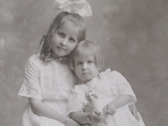 Little Sisters and the Toy Kitty Edwardian Photo Dated 1911