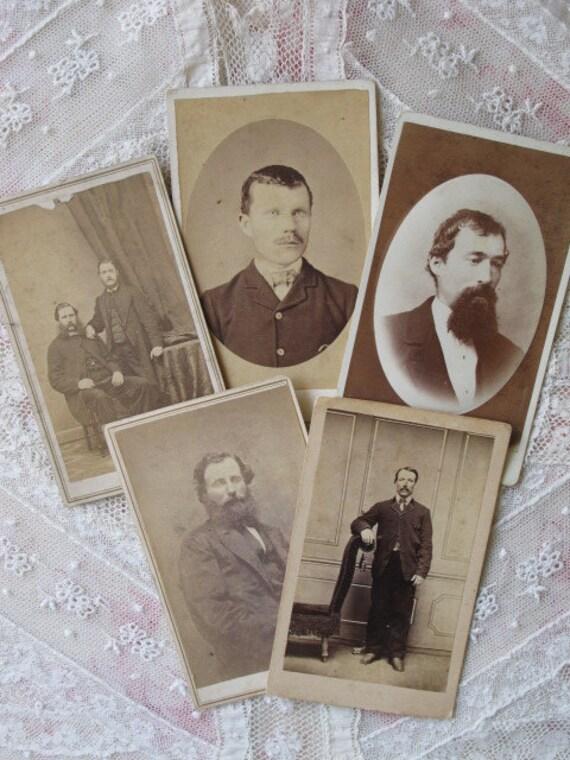 Handsome Gentlemen 5 Victorian Cabinet Card Photo Portraits c1870s