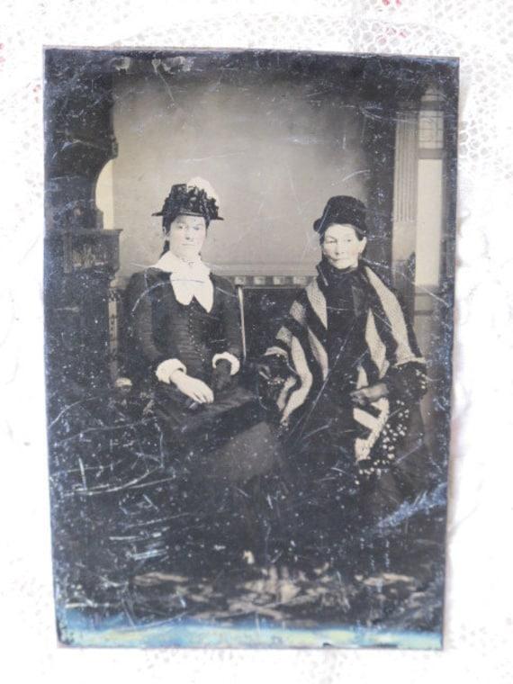 2 Elegant Ladies Portrait  Victorian Tintype Photo c1870s