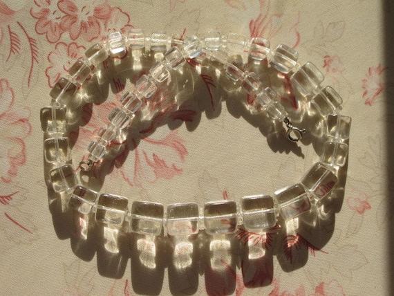 44 Vintage Art Deco Square Cubes Clear Glass Beads Necklace