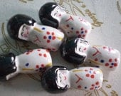 5 pcs WHITE Colors Porcelain KoKeShi Japanese Doll Beads