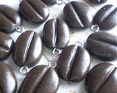 COFFEE BEANS - 8 Polymer Clay Beads