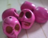 5 pcs Synthetical Gemstone SKULL Beads, RASPBERRY color