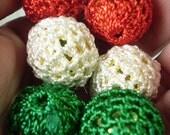 6 pcs Crochet Beads ITALY Flag color