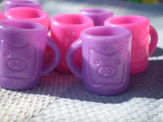 8 pcs Lavander and Hot Pink Acrylic Mug Pendant Charm