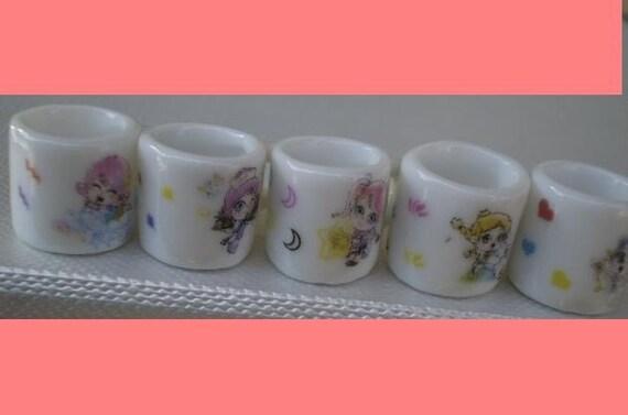 5 Porcelain Mini Mug Beads Charm Girlish Theme for your Project